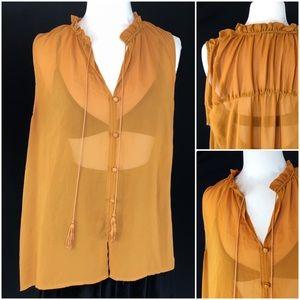 Sheer Copper Color Sleeveless Blouse